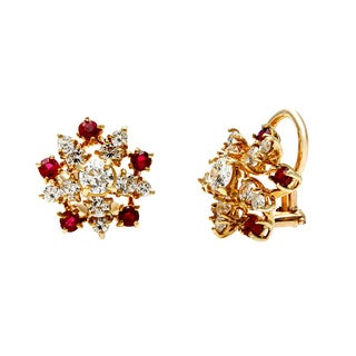 14k Yellow Gold Ruby and 1 2/5ct TDW Diamond Star Estate Earrings (G-H, VS1-VS2)