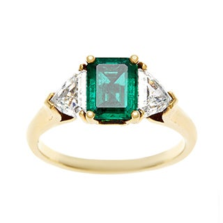 18K Yellow Gold 1ct TDW Emerald Three Stone Estate Ring (G-H, VS1-VS2)