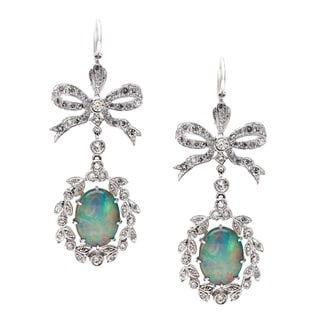 14k White Gold Opal and 1 1/4ct TDW Diamond Estate Earrings (H-I, SI1-SI2)