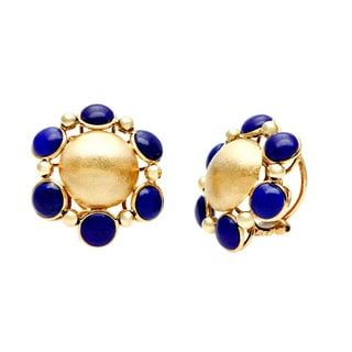 18k Yellow Gold Lapis Lazuli Estate Earrings