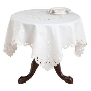 Polyester Embroidered and Cutwork Square Tablecloth