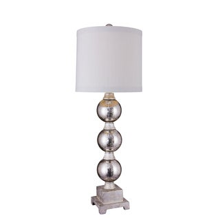 Fangio Lighting's 32-inch Poly and Glass Table Lamp with Mercury Silver Finish