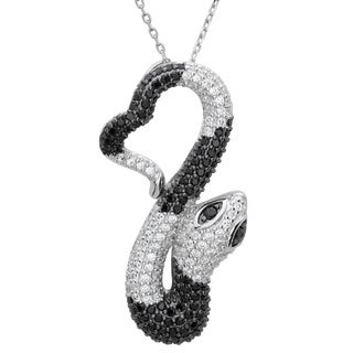 Sterling Essentials Silver Black and White Cubic Zirconia Snake Pendant Necklace