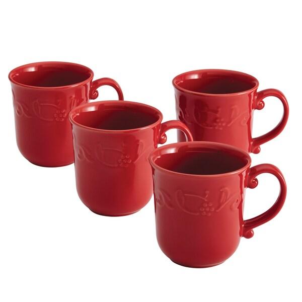 Paula Deen Signature Dinnerware Spiceberry Red 4-piece Mug Set