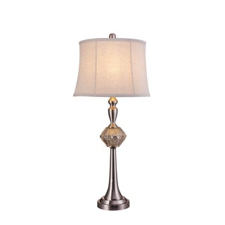 Fangio Lighting's 30-inch Mercury Glass and Metal Silver Table Lamp with Polished Nickel Finish