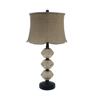 Fangio Lighting's 30-inch Amber Glass and Metal Table Lamp with Painted Bronze Finish