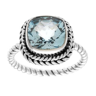 Samuel B. Sterling Silver Blue Topaz Cushion Center Twisted Band Ring