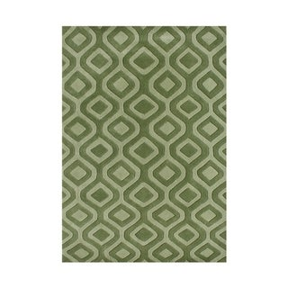 Hand-tufted Turf Green Wool Blend Rug (8' x 10')