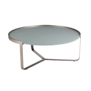 Modern Frosted Glass Nickel Coffee Table