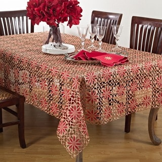 Embroidered Poinsetta Cutwork Tablecloth