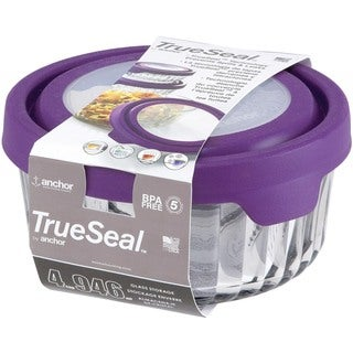 Anchor Hocking TrueSeal Embossed Glass 4-Cup Capacity Tupperware Container (Set of 2)
