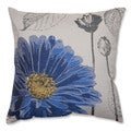 Dark Blue Chrysanthemum 18-inch Throw Pillow