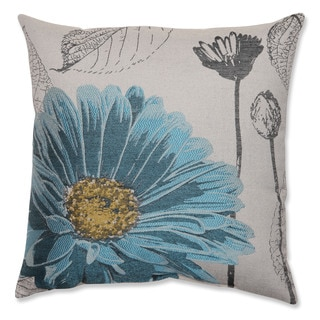 Blue Chrysanthemum 18-inch Throw Pillow