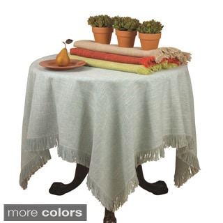 40-inch Square Table Topper with Fringed Edges