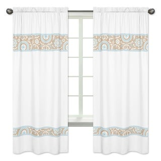 Blue/Taupe Hayden 84 inch Curtain Panels (Set of 2)
