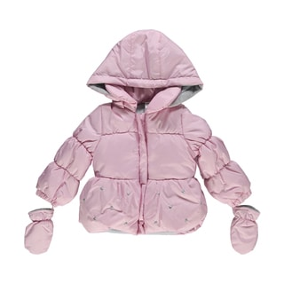 Little Me Girls Dotty Bubble Pink Insulated Jacket