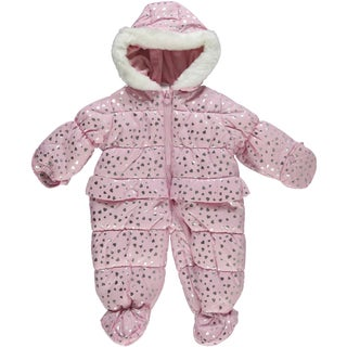Little Me Girls Snowflake Heart Snowsuit in Pink