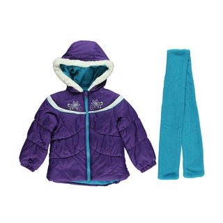 London Fog Girls Winter Blossom Insulated Jacket and Scarf