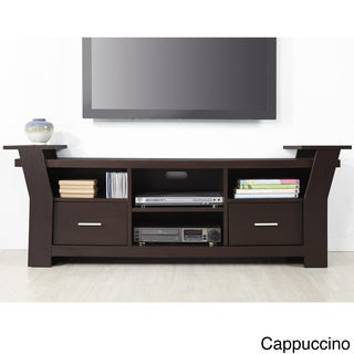 Furniture of America Skyler Contemporary 64-inch White/ Cappuccino 2-drawer TV Console