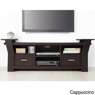 Furniture of America Skyler Contemporary 64-inch Wide Black/White Brown Cappuccino Two Drawers Entertainment TV Console