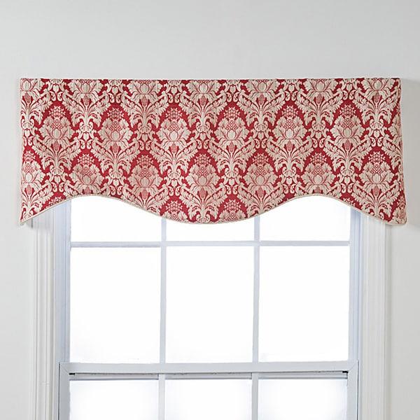 Burbury Shaped Red, White Damask Window Valance (As Is Item)