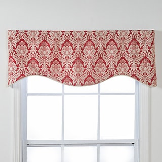 Burbury Shaped Red, White Damask Window Valance