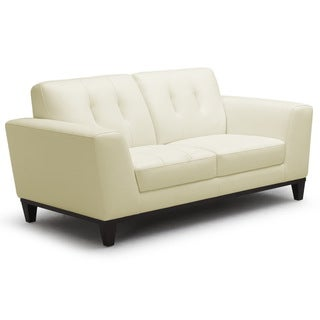 Baxton Studio Pilkson Ivory Leather Modern Loveseat