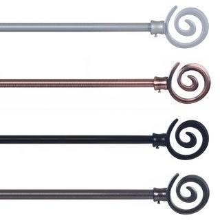Lavish Home Spiral Finial Modern Curtain Rod Set