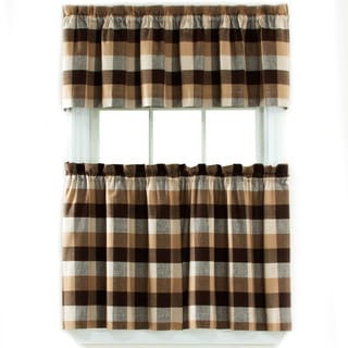 Nottingham Plaid Woven Rod Pocket 3-piece Tier and Valance Set