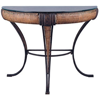 Bombay Collection English Bronze Bamboo Wicker Glass Top Console Table