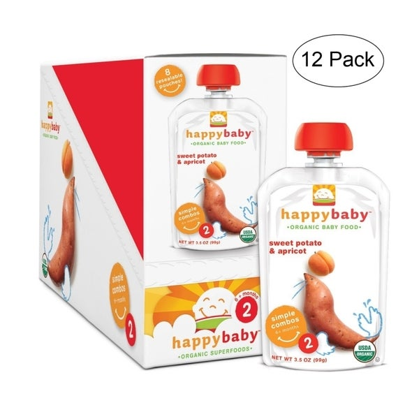 Happy Baby Apricot/Sweet Potato Stage 2 Food Pouch (12 Pack)