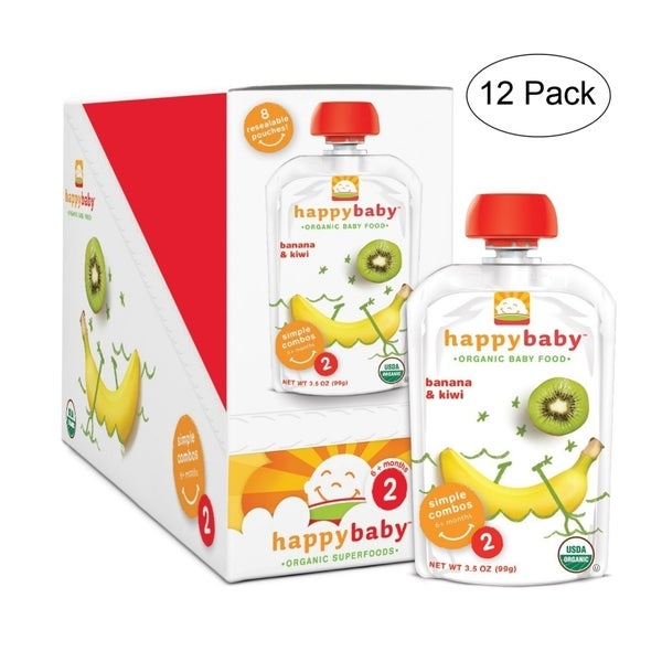 Happy Baby Banana/ Kiwi Stage 2 Food Pouch (12 Pack)