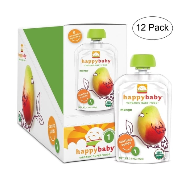 Happy Baby Mango Food Stage 1 Pouch (12 Pack)