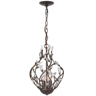 Petals English Bronze Hand Painted Column 3-light Mini Chandelier