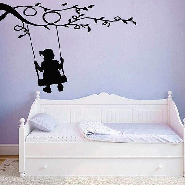 Girl on Swing Vinyl Wall Decal