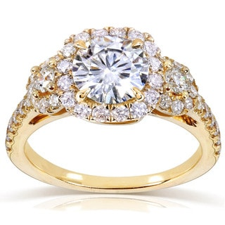Annello 14k Gold Round-cut Moissanite and 3/4ct TDW Diamond Three Stone Halo Engagement Ring (G-H, I1-I2)