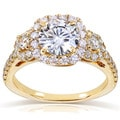 14k Gold Round-cut Moissanite and 3/4ct TDW Diamond Three Stone Halo Engagement Ring (G-H, I1-I2)