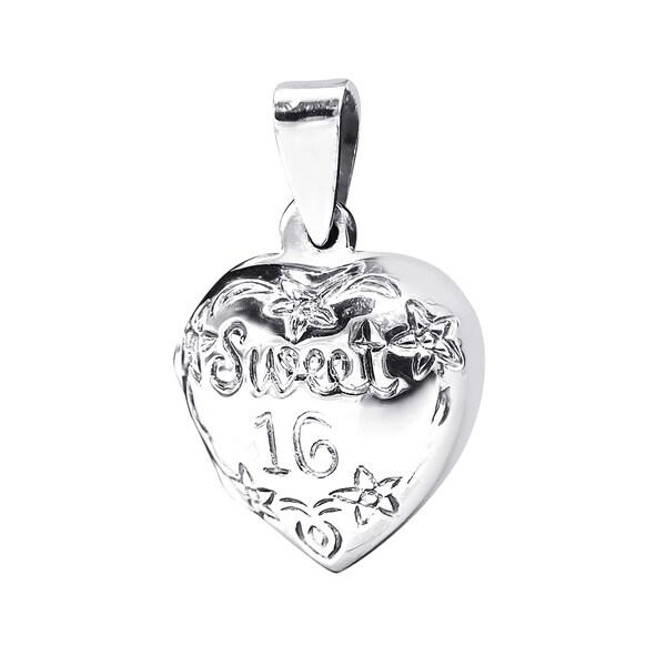 Lovely Sweet 16 Heart Locket .925 Silver Pendant (Thailand)