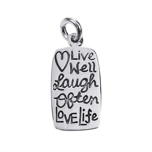 Mini 'Live Well Laugh Often Love Life' .925 Silver Pendant (Thailand)