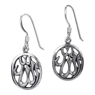 Allah Symbol Sterling Silver Oval Dangle Earrings (Thailand)