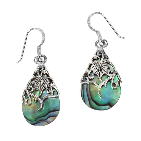 Floral Vine Ornate Teardrop Natural Shell .925 Silver Earrings (Thailand)