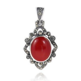 Oval Vintage Style Marcasite .925 Silver Pendant (Thailand)