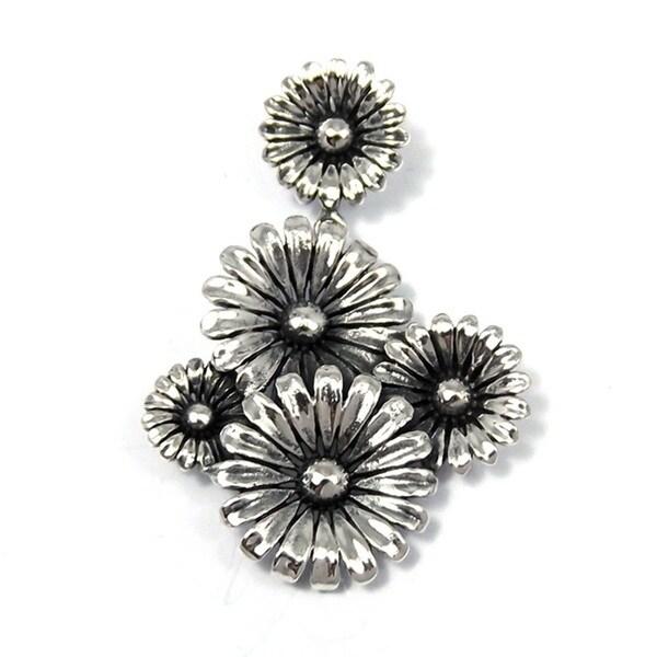 Oxidized Sunflower Bouquet .925 Silver Pendant (Thailand)