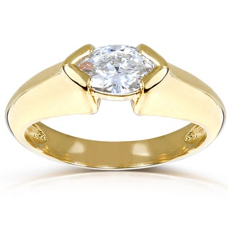 Annello 10k Gold Certified 3/5ct TDW Marquise Diamond Ring (H, VS2)