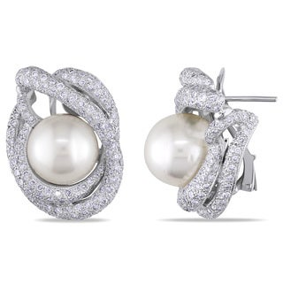 Miadora 18k White Gold 4 1/3ct TDW Diamond and South Sea Pearl Earrings (G-H)