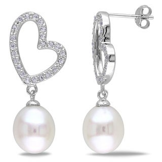 Miadora Sterling Silver Pearl and White Topaz Heart Earrings (9.5-10 mm)