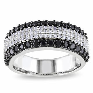 Miadora Sterling Silver Black Spinel and Created White Sapphire Ring