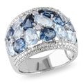 Miadora Sterling Silver Blue Topaz and Diamond Ring (H-I, I2-I3)