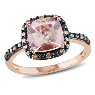 Miadora 10k Rose Gold Morganite and 1/10ct TDW Brown Diamond Ring (I2-I3)
