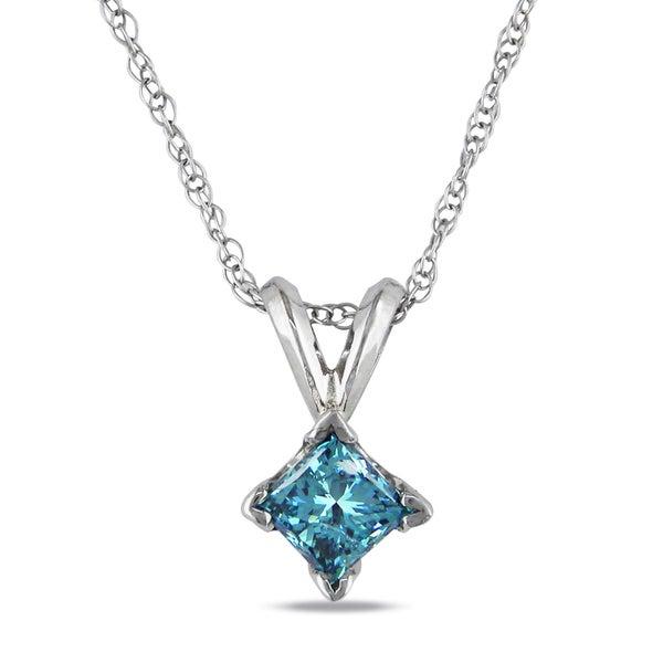 Miadora 10k White Gold 1/2ct TDW Blue Diamond Solitaire Necklace